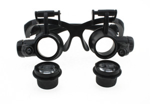 5-25 4 Arten von mehreren Doppelkopf-Lupenbrillen, Brillenlupe mit LED-Leuchten funktionieren, Exkursionen zur Vergrößerung der Brille