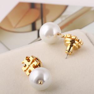 Top latão qualidade brinco de material de charme com grânulos da pérola 1,1 centímetros Brinco dom de jóias mulheres Branco / Cinza frete grátis PS6634
