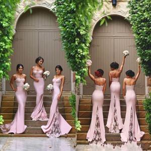Nuevo diseñador rosa sexy barato sirena de la sirena vestidos de dama de honor espaguetis correas de encaje apliques de backless boda dama de invitados de los vestidos de honor