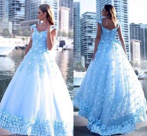 2017 Vestidos de Noche Light Sky Blue Sweetheart Lace Beads Applique 3D Lace Up Sweep Train Plus Size Cocktail Party Vestidos de baile