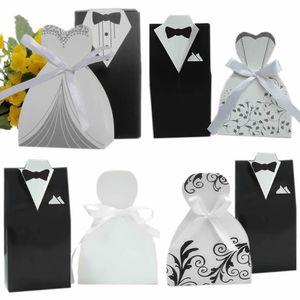 로맨틱 신랑 턱시도 드레스와 신부 드레스 웨딩 사탕 상자 리본 웨딩 사탕 사탕 상자 4 스타일 Sweety Party Favor Box Gift