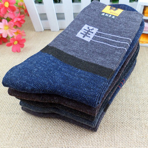 Wholesale-40pcs=20Pairs Men Socks Long Thick Sock Classic Business Male Brief Wool Man Sock Autumn&Winter Socks Mixed Color By Random