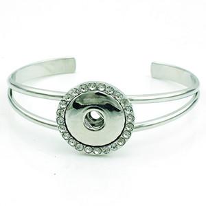 New Arrival Cuff Bracelets Fashion 18mm Snap Button Rhinestone Interchangeable Infinity Alloy Bracelets Bangle DIY Jewelry
