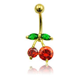 Body Piercing Moda Umbigo Anéis de Aço Inoxidável da Cor do Ouro Anéis De Cristal De Cereja De Cristal Anéis Jóias