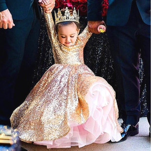 Sparkly Gold Flower Girl Dress Sequins Long Sleeves Jewel Neck Girls Pageant Dress Great Gatsby Birthday Dress First Communion Gowns
