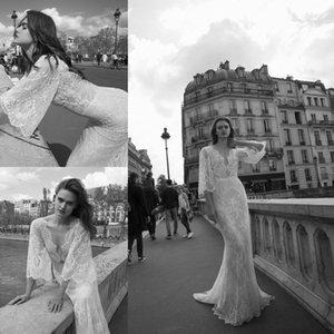 2018 Full Lace Sirena Vestidos de novia Mallas Medias Mangas Profundo Cuello en V Bohemain Vestidos nupciales Hecho a medida Vestisdos de Novia