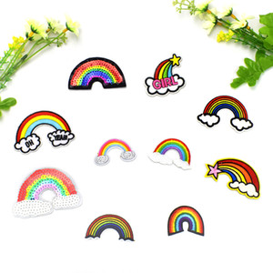 10 PCS Mixed Rainbow Embroidery Patches for Clothing Applique Iron on Transfer Sequined Patch for Jeans Bags DIY Sew on Embroidery Badge