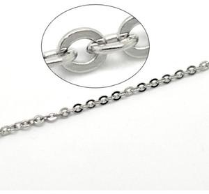 Lot 10 meters Charming Jewelry 스테인레스 스틸 1.5mm / 2mm / 2.3mm / 3mm 실버 플랫 타원형 링크 체인 찾기 / 표시 DIY 체인 찾기