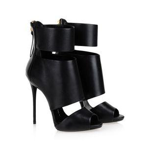 2018 nouvelles chaussures mode gladiateur femme sandales à bout ouvert découpé zip noir talons aiguilles chaussures de soirée femme feminino melissa sandalia
