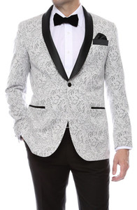 Gramercy Mens Silver Tapestry Super Slim Smoking Smoking dello sposo 2018 Side Groomsmen Mens Wedding Prom Abiti Custom Made (Jacket + Pants + Tie + Vest)