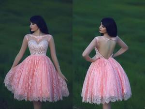 2015 Sexy Sheer Illusion mangas compridas rosa de cristal Lace Homecoming Prom vestidos Backless na altura do joelho Wedding Party Dresses EA0451