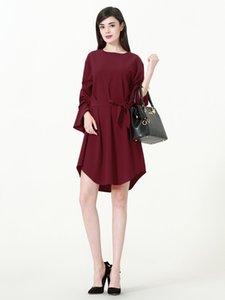 2018 nova m-7xl mulheres pure color blusa plus size mulheres camisa de manga longa dress com cinto