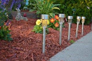 Toptan Satış - Toptan-20pcs Açık Güneş Enerjisi lambası Su geçirmez paslanmaz çelik Peyzaj Bahçe Solar Çim Işık ücretsiz gönderim LED