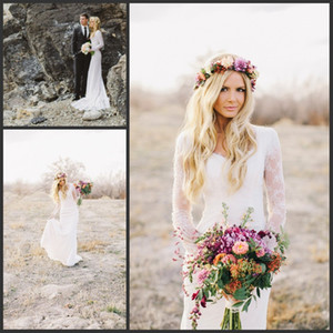 2021 Богемные кружева с длинными рукавами Свадебные платья Свадебные платья Милая простой пляж Boho Bridal Свадебные платья Оболочка плюс размер на заказ