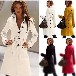 Свободные пальто верхней части женщин перевозкы груза шерсти пальто перевозкы груза Mid-Length, тонкие сексуальные пальто Trench, пальто ткани повелительниц большого размера