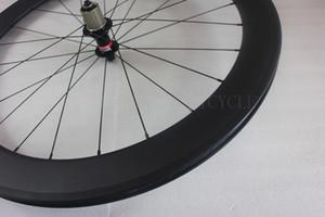 60mm 클린 처 리어로드 자전거 바퀴 24H 23mm 폭 기둥 슈퍼 라이트 에어로 스포크 novatec F482SB 허브 현무암 브레이크 트랙 탄소 자전거 바퀴