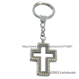 Crystal Cross Shape Magnetic floating locket Keychain zinc alloy floating living memory locket Free shipping