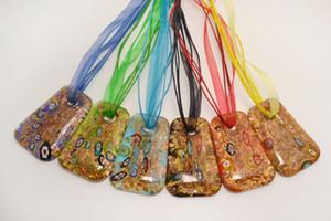 Venta al por mayor 6pcs hecho a mano color de la mezcla italiano veneciano cuadrado transparente Millefiori Lampwork cristal de murano colgante 3 + 1 collares de seda nl0174m * 6