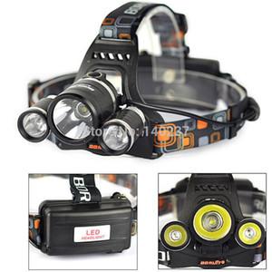 Atacado-Alta Potência Novo Boruit RJ-3000 5000LM 3x CREE XM-L T6 LED Headlamp Head Light Lâmpada + Carregador