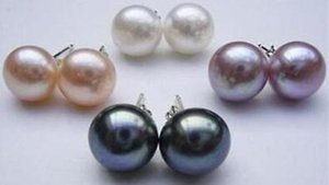 genuine Jewelry 4 pairs 7-8mm multicolour pearls earrings