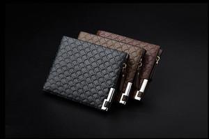2017 Haute Qualité PU Portefeuilles En Cuir Pour Les Hommes D'affaires Designer Bifold Argent Porte-Cartes Titulaire de Plaid De Mode Bourse Sacs