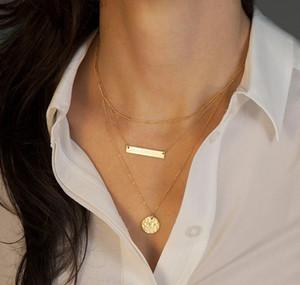 Halsketten für Frauen-Art- und Weiseschriftsatz Gold überzogene geometrische Paillette 3-Schicht Ketten-Halsreifen Schlüsselbein-Kettenhalsketten-Schmucksache-Großverkauf SN577