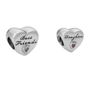 Se adapta a las pulseras de Pandora Best friends Daughter Silver Charm Bead Loose Beads for Wholesale DIY European Sterling Jewelry Jewelry
