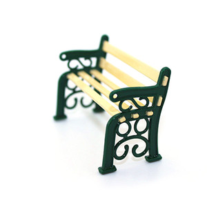 New Mini Chairs Plastic Park Benches Miniature Dollhouse Furniture Toys For Doll House Courtyard Decor Accessories