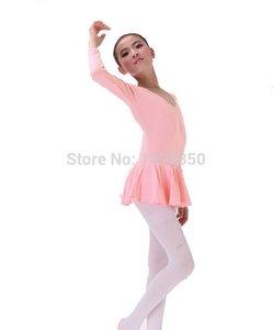 Los niños de los bebés de manga larga Leotardo Gymnastics Ballet Dress Dance Vestidos Vestidos 2-14 Edades Dancewear Tranining Patinaje ropa