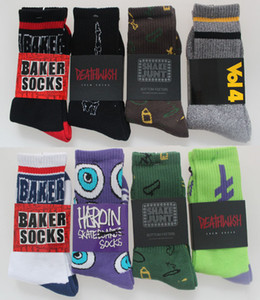 Großhandels-5pais = 10pieces Mode Jasper Baker Harajuku Sommer-Art-Dick Terry Sportsocken Skateboard Baumwolle Herrensocken