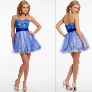 Camillelavie Vestidos de Formatura 2015 Curto Azul Tule Applique Beads Sweetheart A Linha Backless Homecoming Partido Prom Vestidos
