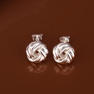 Brand new sterling silver plate Woven button-type earrings SE377, женские 925 серебряные висячие люстры серьги 10 пар a lot factory direct