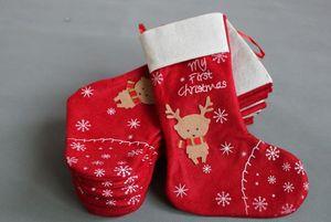 Новогодние украшения снежинка оленя Рождественского чулка подарок мешок конфета яблоко мешки обернуть длинные чулки носков красных Праздничные для вечеринок EMS