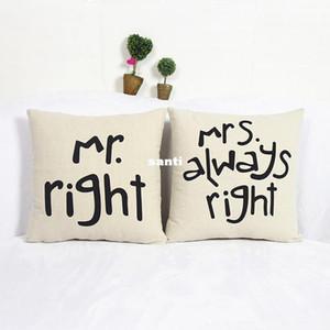 Популярные смешные Mr Right Mrs Al ways Right Print Blend хлопок белье наволочка кровать диван чехлы для подушки аксессуары для дома