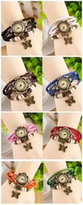 Womens Ladies Leather Wristwatches Vintage Butterfly Decoration Bracelet Watch Quartz High Quality Christmas Birthday Gift Free Shipping