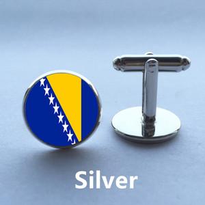 Haute qualité Vintage bijoux boutons de manchette drapeau national de Bosnie-Herzégovine ronde noir simple fond cadeau bouton de manchette hommes
