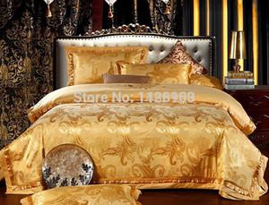 مجموعات الفراش الفاخرة الجاكار الساتان 100٪ ملاءات السرير القطن مصمم عيد الميلاد 4 قطع في كيس الكتان الدانتيل حاف يغطي أغطية السرير الملك الحجم