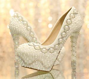 2015 più bella Perla di Tacco Alto scarpe da sposa Strass di Cristallo da sposa scarpe da sposa scarpe 35-39 Moda donna Scarpe Regalo di Natale