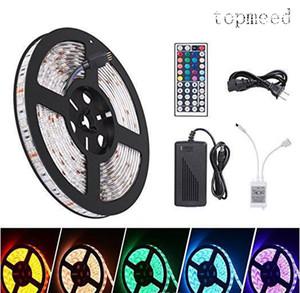 Luces de Navidad tiras Led impermeable 5 M 300 Leds SMD 5050 RGB luces 60 leds M + 24Key IR controlador remoto + 12V5A fuente de alimentación
