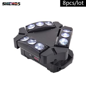 8pcs / lot nouvelle arrivée CREE MINI LED 9x10W Led Spider Light RGBW 16 / 48CH DMX Stade Lumières Dj Led Spider Moving Head Faisceau Lumière