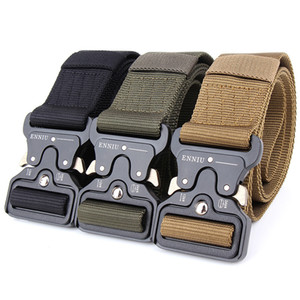 Wholesale High Quality Men's Canvas Belt Metal Insert Buckle Nylon Training Belt Army Tactical Belts for Men,Can Be Custom-made