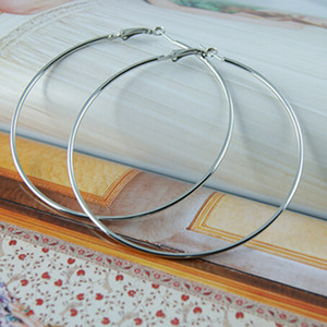 45 mm Big Hoop Loop boucles d'oreilles découvertes bijoux fabric Grand cercle lisse crochet rond Hip Hop fermoir Clip simple goutte Punk Dangle Charm artisanat