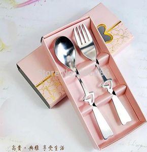 Holiday Party Supplies vajilla de acero inoxidable Heart Love tenedor Spoon Souvenirs Wedding Events Door Gifts para Guest 100sets al por mayor