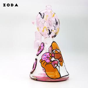 Zoda Vidro função engraçado joint mais novo ângulo reto rosa Donuts bong desenho de tubo de mão de fumar Dab Rig favo de mel Perc água de vidro