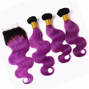 Purple Ombre Haar mit Verschluss Two Tone Schwarz bis Lila Dark Roots Menschliches Haar Bundles mit Spitze Schließung 4 * 4 Top Closure reines Haar