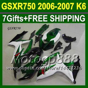 7gifts + Cowl Fit SUZUKI 06 07 Verde K6 GSXR750 Personalizzato gratuito P10452 GSXR 750 verde bianco nero GSX-R750 2006 2007 Kit carenature GSXR-750