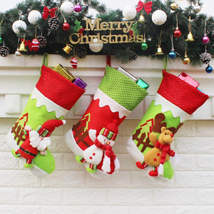 Recién llegado de regalo de Navidad Bolsa de regalo Santa Claus Snowman Elk colgante XMAS Decoración XMAS adornos calcetines HH7-242