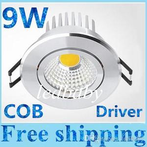 20pcs / lot de haute qualité 9W Led COB Downlights 120 degrés chaud / Naturel / Blanc Froid Led plafond Dimmable Saving lampe Lumières avec chauffeur