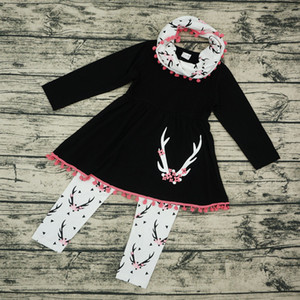 Baby Girls Clothing Sets Christmas Deer Long Sleeve Tassel Dress Tops + Printed Pants+Neckerchief 3pcs Sets Cartoon Plum Blossom Outfits