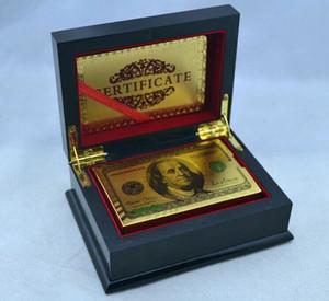 Freies Verschiffen 24K USD Gold überzogene farbige Dollar-Schürhaken-Spielkarte mit Holzkiste, 10pcs / lot geben Verschiffen durch DHL frei